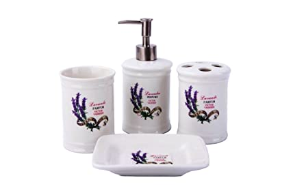 Scopini Da Bagno Ceramica : Gmmh paese casa vintage set da bagno lavanda bagno set di