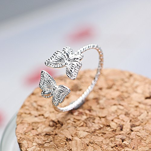 Infinite U Double Papillons Spiral Argent 925 Enfants/Filles Réglable Bague Taille 55 à 63 pour Cadeau d'anniversaire/Cadeau de Saint-Valentin