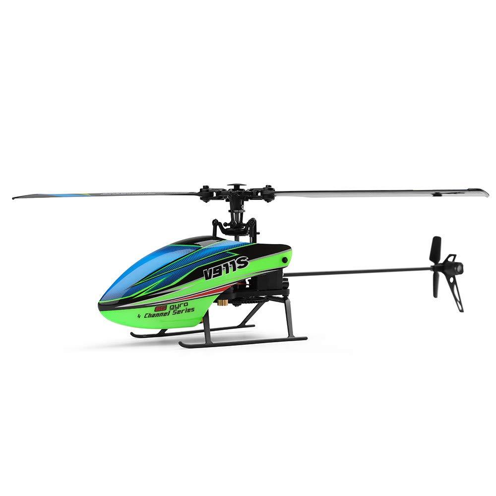 Wokee RC Hubschrauber V911S 2.4G 4CH 6-Aixs Gyro Flybarless RC Hubschrauber RTF - Modus 2 RC Fernsteuerungshubschrauber 4CH der LED-Anzeige 3.7V 250mAH RC Hubschrauber
