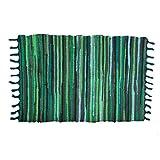 ANJUREN Multifunction Reversible Durable Color Stripe Area Rugs Rags Hand Woven Washable Runner Rug Carpet Mat Pad for Kitchen Bathroom Door Bedroom Apartment Sofa Window Bed Pet (23.6''x35.4'', Green)