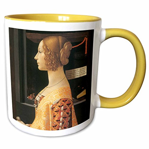3dRose BLN Italian Renaissance Fine Art Collection - Giovanna degli Albizzi Tornabuoni by Domenico Ghirlandaio - 15oz Two-Tone Yellow Mug (mug_127060_13) ()