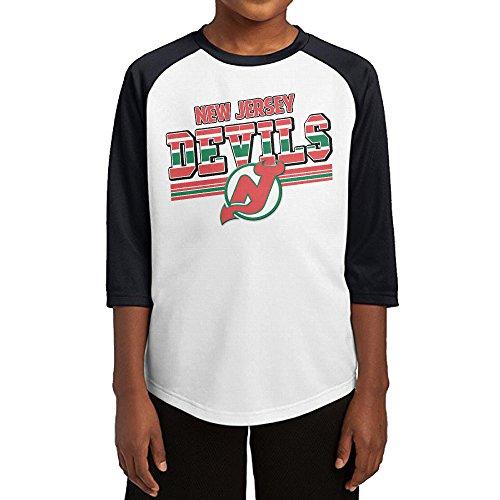 [Hotboy19 Youth Boys New Jersey Hockey Logo Raglan Tee Baseball Shirt Black Size M] (Hockey Stanley Cup Costume)