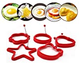 stbeyond Fried Egg Molds set- Non Stick Silicone Fried Egg Molds Pancake Rings - Funny Style with Round, heart, bear, star, cloud (set of 5)
