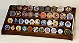 4 Rows 40 Challenge Coin / Casino Chip Display Case Rack Holder Stand Solid Wood -Walnut Finish