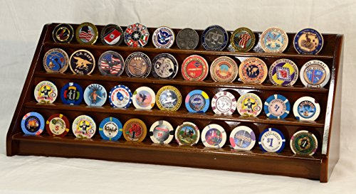4 Rows 40 Challenge Coin / Casino Chip Display Case Rack Holder Stand Solid Wood -Walnut Finish by sfDisplay.com, Factory Direct Display Cases
