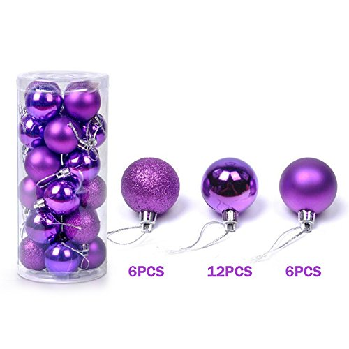 XHSP 24pcs Barrelled Bright Colorful Plastic Christmas Ball Christmas Tree Ornaments Party Decor Purple