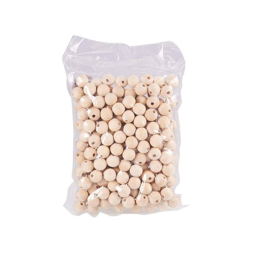 PandaHall 200 pcs Perles de Bois Rondes Naturelles Perles en Bois en Vrac diam/¨/¨tre 16mm pour la Fabrication de Bijoux Artisanat Fait Main Bricolage