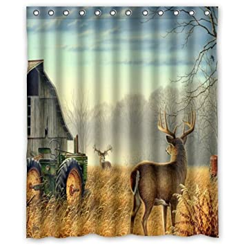 Custom Unique Design Cool Old Tractor And Cute Deer Waterproof Bathroom  Polyester Fabric Shower Curtain 60