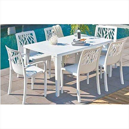 タカショー ベジタル/アルファ テーブルチェア7点セット 『ガーデンチェア ガーデンテーブル セット』 ホワイト B075WTYHGX 本体カラー:ホワイト