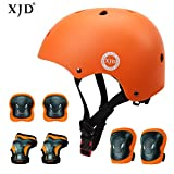 XJD Child Protective Gear Set, Adjustable Kids bike Helmet Knee Elbow Pads Wrist (orange)