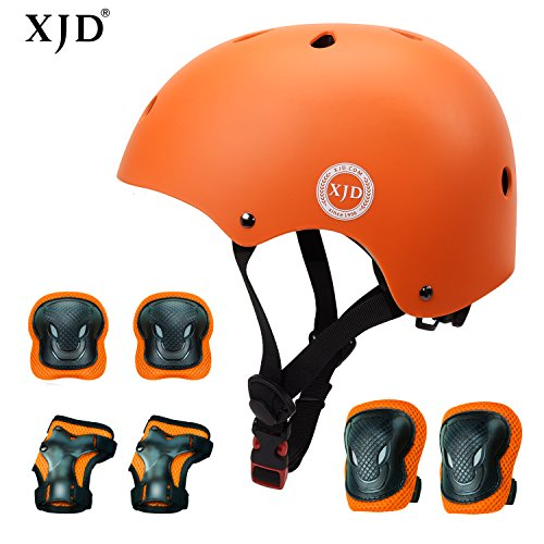 XJD Kids Helmet 3-8 Years Toddler Helmet Sports Protective Gear Set Knee Elbow Wrist Pads Roller Bicycle BMX Bike Skateboard Adjustable Helmets for Kids (Orange)