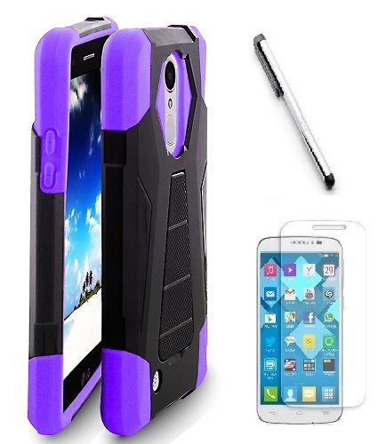 LG Fortune M153 ( Cricket ) case, LG Phoenix 3 M150 ( AT&T ) Case, Luckiefind Premium Hybrid Dual Layer Case with Stand, Stylus Pen, Screen Protector Accessory. (Stand Purple)