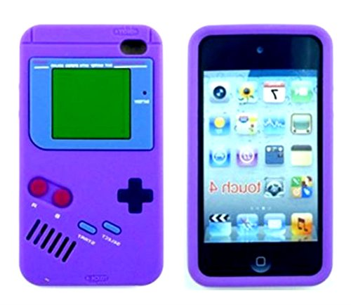 iTitan Plum Skin Purple {Classic Game Boy} Soft and Smooth Silicone Cute 3D Fitted Bumper Gel Case for iPod 4 (4G) 4th Generation iTouch by Apple