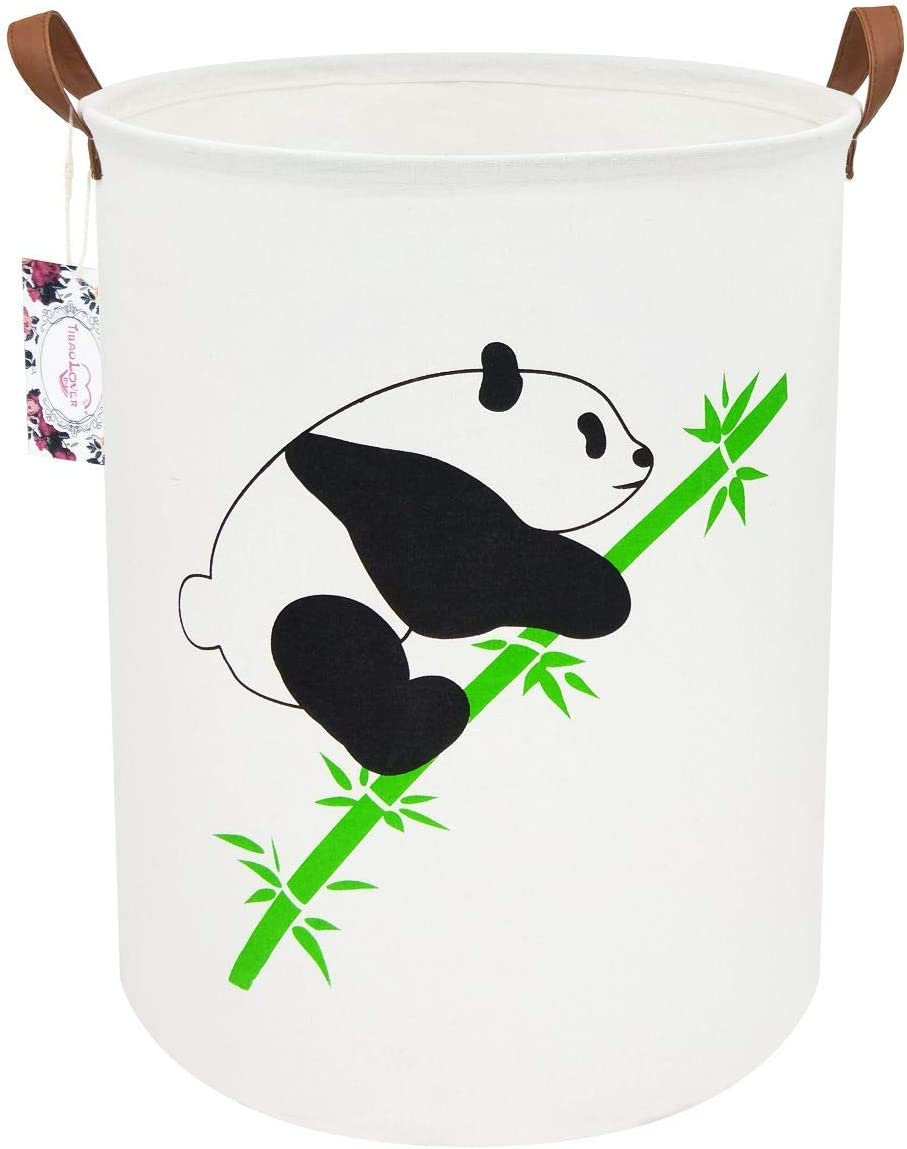 "TIBAOLOVER 19.7"" Large Sized Waterproof Foldable Canvas Laundry Hamper Bucket with Handles for Storage Bin,Kids Room,Home Organizer,Nursery Storage,Baby Hamper (Climbing Panda)"