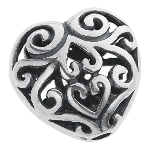 Bali 925 Sterling Silver Filigree Flower Leaf Puff Heart Love 12mm Focal Bead