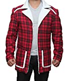 BlingSoul Deadpool Flannel Jacket Costume Cosplay - Faux shealing Coat For Halloween (L, Red Cotton)