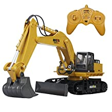 Hugine Alloy 11 Channel RC Excavator and Bulldozer 2in1 2.4G Crawler Full-Function Remote Control Construction Tractor Excavator Truck Toy (11 Channel)