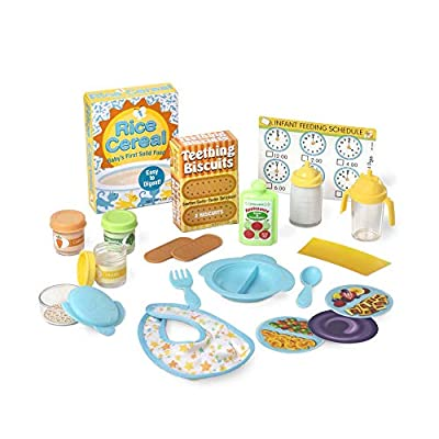 Melissa & Doug Mine to Love Deluxe Baby Care Play Set (48 Pieces – Doll + Accessories to Feed, Bathe, Change, and Cuddle, Great Gift for Girls and Boys - Best for 3, 4, 5, and 6 Year Olds), Multi: Toys & Games