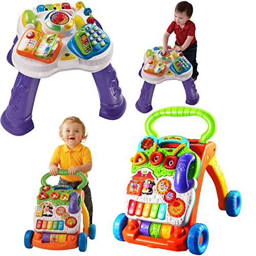 VTech Sit-to-Stand Learning Walker and Learn & Discover Table - Kids Brain Development Toys, 2-Piece (Things That Start With The Letter V)