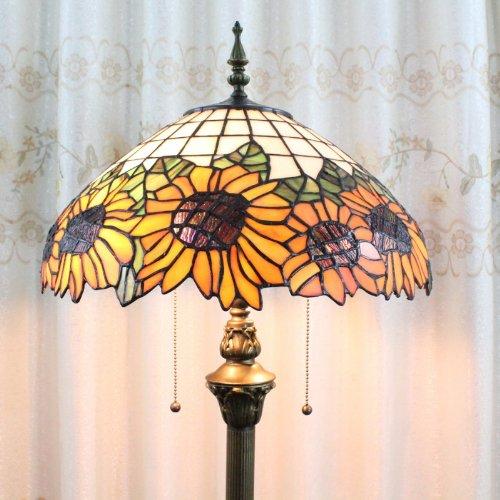 Tiffany 16-inch European-style stained glass sun flower floor lamp 3 light bulbs (Lamp Glass Floor Flower)
