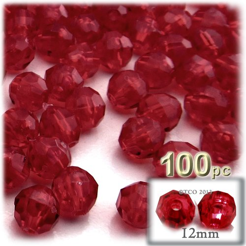 (The Crafts Outlet 100-Piece Faceted Plastic Transparent Round Beads, 12mm, Raspberry Red)