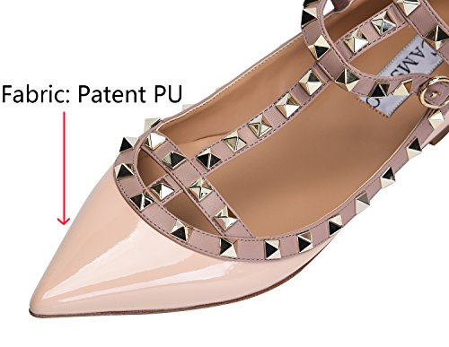 Camssoo Donna Borchie In Metallo Strappy Fibbia Punta A Punta Appartamenti Comode Scarpe Da Sposa Scarpe Nude Patente Pu