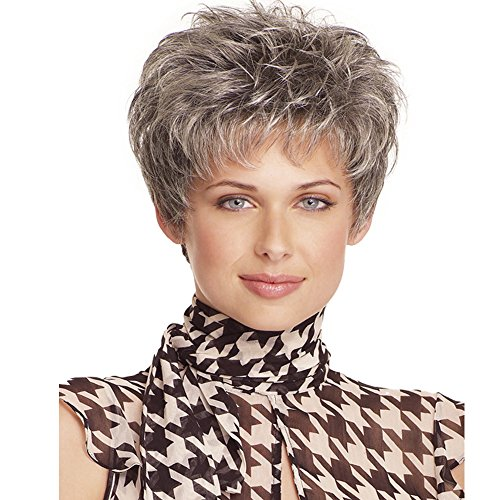 Beauty : KUNMEI Wigs for Women Short Gray Looking Naurtal Curly Hair - Women Wigs Heat Resistant Synthetic Hair With a Free Wig Cap