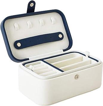 Caja de Joyas de 2 Capas - Cuero PU Organizador de Joyas,Estuche para Guardar Joyero,Pendientes,Anillos y Collares,Tapa Elevable (Blanco): Amazon.es: Bricolaje y herramientas