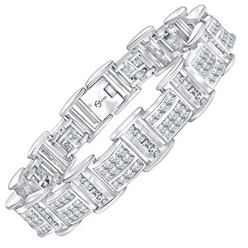 Men's Sterling Silver .925 Bracelet with 116 Channel Set Fancy Princess Shaped Cubic Zirconia (CZ) Stones, Box Lock, Platinum Plated 8