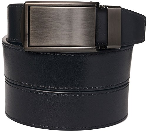 [SlideBelts Men's Onyx Premium Full Grain Leather with Gunmetal Buckle] (Full Metal Buckle)