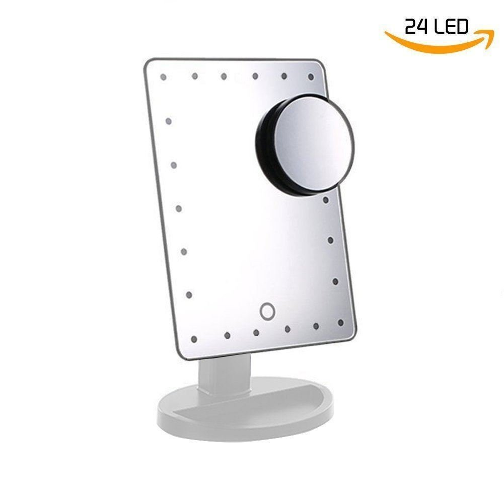 ADOV Vanity Mirror with Lights, Illuminated Cosmetic Makeup Mirror with 10x Magnifying Glass 24 LED Adjustable Touch and 180° Rotatable Stand - Black [Energy Class A++]