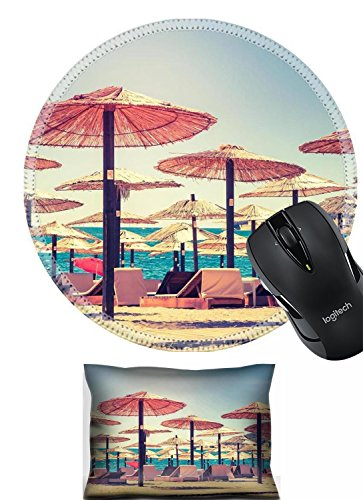 Liili Mouse Mouse Wrist Rest and Round Mousepad Set, 2pc Wrist Support IMAGE ID 32942902 Thatched umbrellas and beach chairs on the beach Budva Montenegro Balkans Europe Beauty world Ret (Thatched Umbrellas Sale)