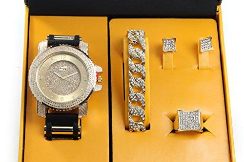 It's Lit! Hip Hop Watch & Jewerly Set w/Cuban Chain Bracelet, Kite Bling Earrings & Ring - GJM13 Gold from Charles Raymond