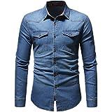 Men's Slim-Fit Dress Shirt, Shybuy Men's Fashion Demin Long Sleeve Button Dress Shirt Contrast Design Collar Shirt