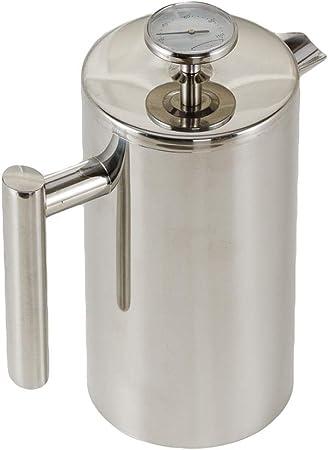 Cafeteras de émbolo Cafetera francesa de presión Prensa francesa de filtro Cafetera termómetro Doble aislamiento aislado Tetera de acero inoxidable 350/800 / 1000ml (Tamaño : 18.5*21.4cm(1000ml)) : Amazon.es: Hogar