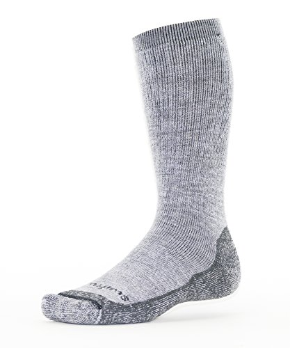 Swiftwick PURSUIT HIKE EIGHT, Tall Crew Socks for Hiking with Heavy Cushion, Heather/Gray, Medium