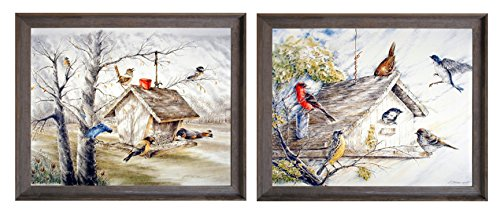 Impact Posters Gallery Bluebirds at Birdhouse and Wild Birds Art Print at Feeder House Two Set Barnwood Framed Wall Decor Picture (8x10)