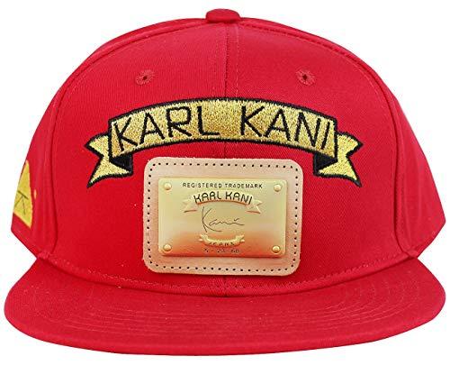 90323b970f28b4 Karl Kani Gold Plate Snapback Embroidered Hat Black White Red Tan