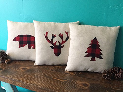 Woodland Themed Buffalo Plaid Applique Pillows on Natural Cotton Fabric-Bear, Moose, Evergreen, Elk Head Silhouette, Owl, Squirrel, Buck or Doe Applique ()