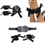 Miswilsi Couples Games Flirt Tools Soft Black Adults Toys Lace Bracelets Eye Mask and Handcuffs Lace Handcuffs Blindfolded Mask