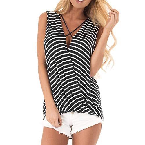 Women's Striped Print Cami Top Blouse Surplice V Neckline Sleeveless Crisscross Tank Top Casual Tunic Vest T-Shirt Amiley (X-Large, Black)