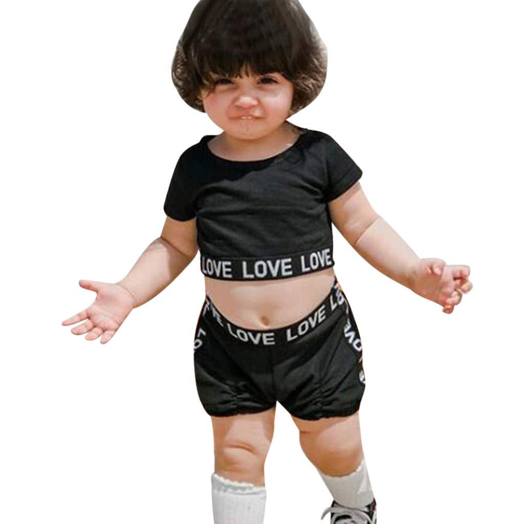 NUWFOR Toddler Kid Baby Girl Clothes Letter Print T-Shirt Tops+Shorts Pants Outfits Set(Black,2-3 Years)
