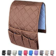MDSTOP Sofa Couch Chair Armrest Organizer, Fits for Phone, Book, Magazines, TV Remote Control ( Coffee )