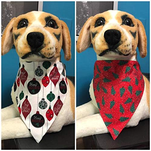 Reversible Over The Collar Pet Bandana Scarf Christmas Ornaments and Trees Dogs Cats slide on 2 in 1 ()