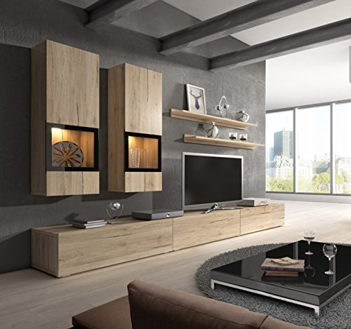 Baros Wall Unit / Modern Entertainment Center / Contemporary Design / LED Lights / High Capacity Storage (Sonoma Oak)