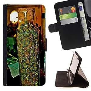 King Art - Premium-PU-Leder-Prima caja de la PU billetera de cuero con ranuras para tarjetas, efectivo Compartimiento desmontable y correa para la mu?eca FOR Apple iPhone 4 4S 4G- 420 Weed weed Marijuana Kush Weed