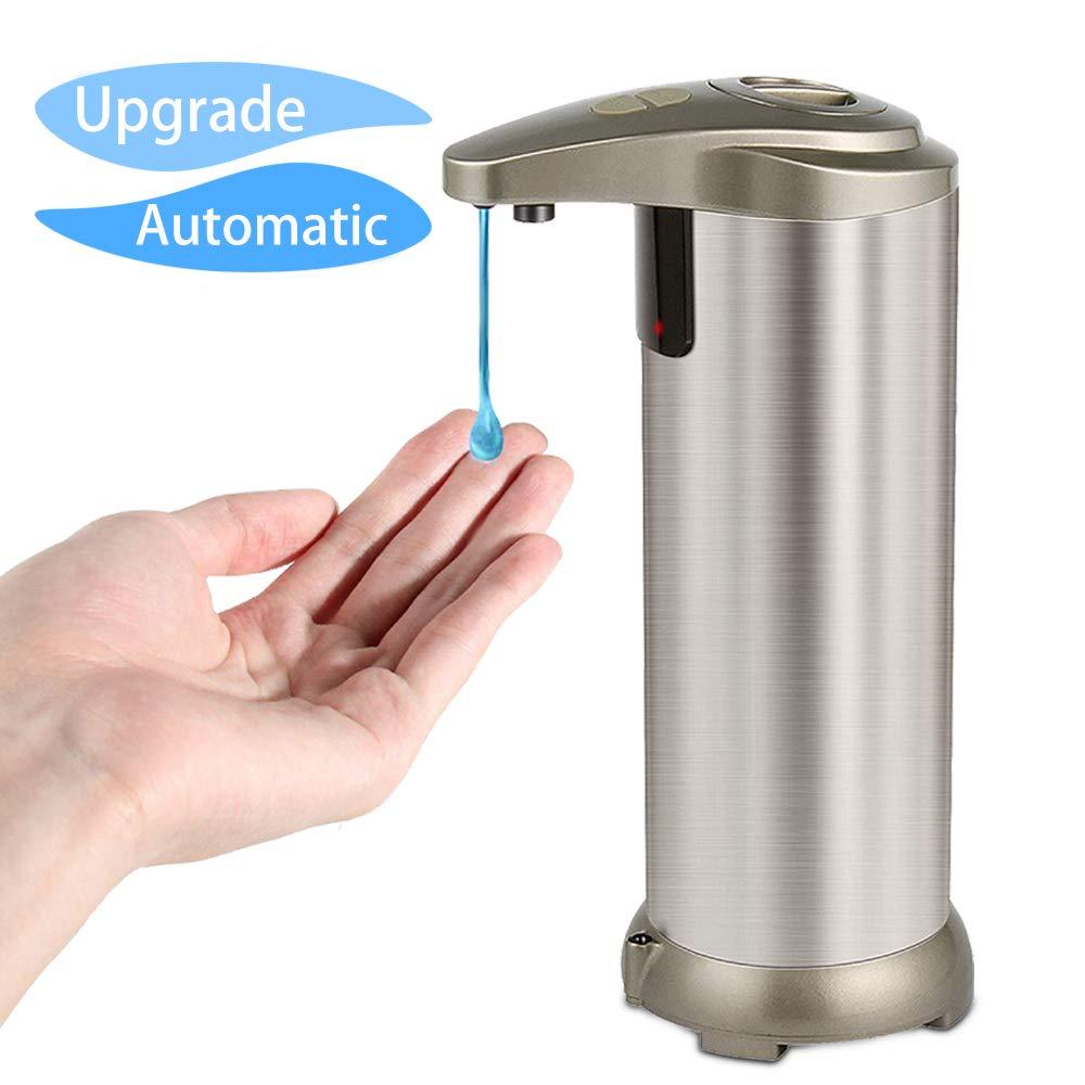 Dispenser Automatico di Sapone - Bigear Dispenser per Sapone Automatico Shampoo Lotion 280ml Acciaio Inox con Sensore a Infrarossi senza Contatto e Base Impermeabile per Cucina, Bagno (Sliver)