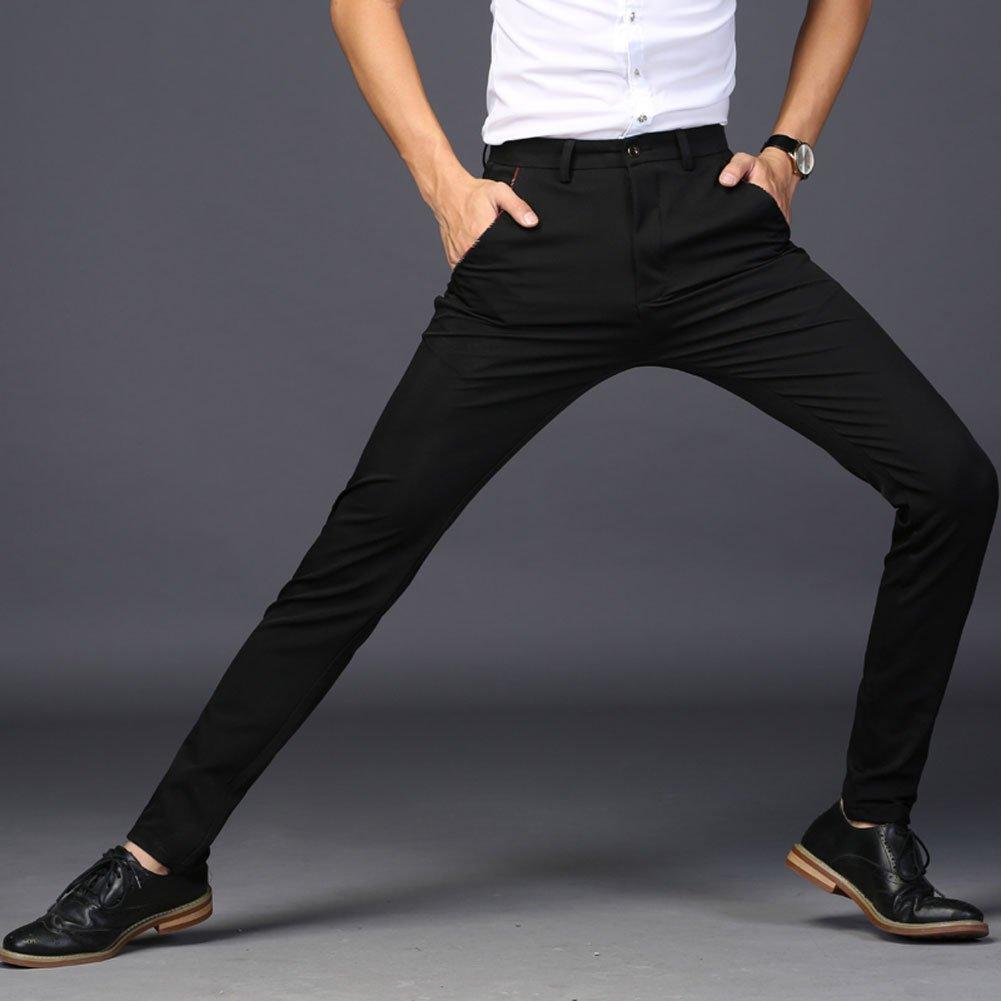 Plaid&Plain Men's Stretch Dress Pants Slim Fit Skinny Suit Pants 7104 Black 32 by Plaid&Plain (Image #3)