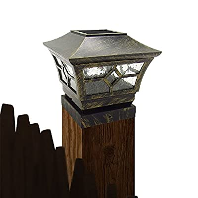 CHEEKON 4 X 4, 5 X 5, 5.5 X 5.5 or 6 X 6 Solar Post Cap Lights, Metal and Glasses, Bronze, Wood Post Fence Post Cap Outdoor Garden Yard Deck Street Top Wall