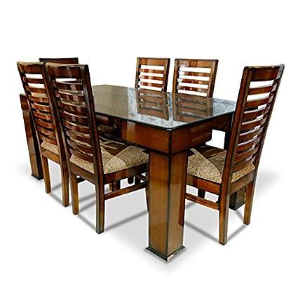 Stallion Traders Coffee Brown Burma Teak Wood 6 Seater Dinning Table